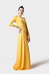 Šaty dlhé žlté s vyšívanými rukávmi