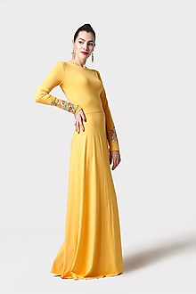 Šaty - Šaty dlhé žlté s vyšívanými rukávmi - 11470833_