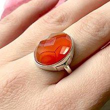 Sady šperkov - Orange Agate Antique Silver Jewelry / Šperky s brúseným oranžovým achátom /P0026 (Prsteň) - 11469667_
