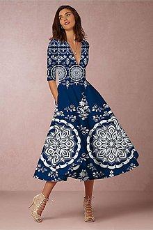 """Šaty - FLORAL FOLK """" Slovenská ornamentika """", spoločenské šaty v dĺžke midi - 11471176_"""