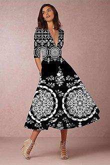 """Šaty - FLORAL FOLK """" Slovenská ornamentika """", spoločenské šaty v dĺžke midi (čierna + biely vzor - dress code) - 11471190_"""