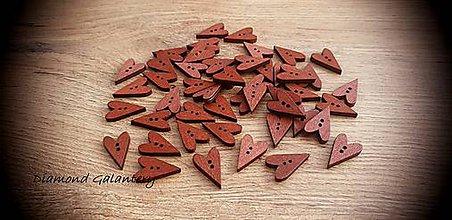 Galantéria - Drevený gombík srdiečko 24 x 15 mm (Hnedá) - 11469062_