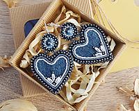 Náušnice - Džínsové náušnice - srdcia - 11470357_