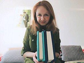 Papiernictvo - Nela obal na knihu - mentolový a modrý - 11471835_
