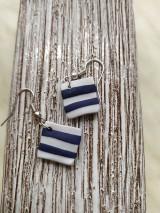 Náušnice - Pásikavé náušnice modro biele - 11471361_