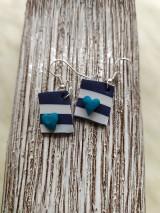 Náušnice - Náušnice s modrým srdiečkom - 11471364_