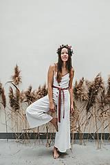 Iné oblečenie - TINKA biely ľanový overal - 11471155_