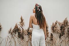 Iné oblečenie - Rosie biely ľanový overal - 11471209_
