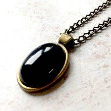 Sady šperkov - Black Agate & Bronze Set / Šperky s achátom v bronzovom prevedení /T0018 (Náhrdelník) - 11473200_
