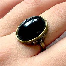 Sady šperkov - Black Agate & Bronze Set / Šperky s achátom v bronzovom prevedení /T0018 (Prsteň) - 11473207_