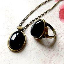 Sady šperkov - Black Agate & Bronze Set / Šperky s achátom v bronzovom prevedení /T0018 (Sada prsteň + náhrdelník) - 11473208_