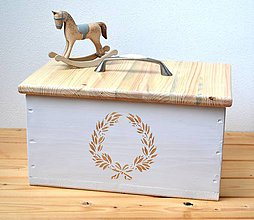 Nádoby - Masívna drevená debnička s vekom - 11473402_