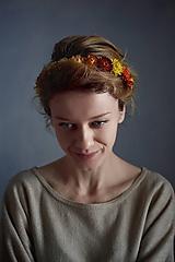 Ozdoby do vlasov - Kvetinová čelenka zo sušených kvetov Oranžová - 11475377_