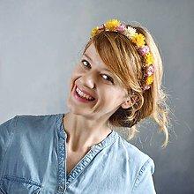 Ozdoby do vlasov - Kvetinová čelenka zo sušených kvetov Pestrá jarná - 11475373_
