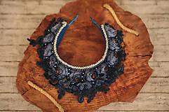 Ozdoby do vlasov - Čelenková korunka s čipkou Modrá - 11474835_