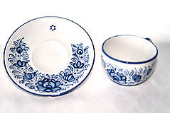 Nádoby - Šálka s podšálkou s modrým dekórom - 11472139_