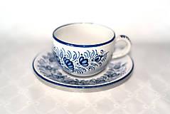 Nádoby - Šálka s podšálkou s modrým dekórom - 11472140_
