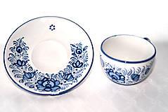 Nádoby - Šálka s podšálkou s modrým dekórom - 11472141_