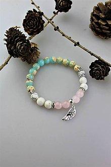 Náramky - magnezit , ruženín a jaspis náramok anjelský - 11474554_