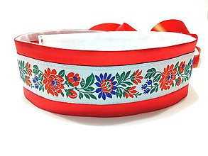 Opasky - Folk opasok červeno biely - 11472710_
