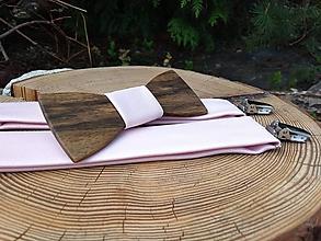 Doplnky - Pánsky drevený motýlik a traky - 11473874_