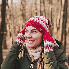 Čiapky - červená zúbkatá čiapka (čiapka) - 11472921_