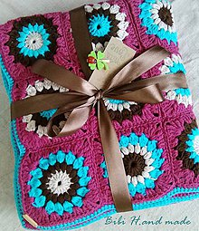 """Úžitkový textil - Háčkovaná deka """"granny square""""malinová - 11474011_"""