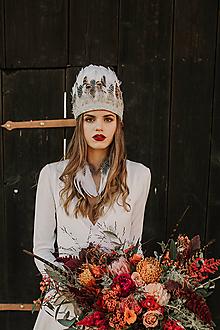 Ozdoby do vlasov - Bohemian Wedding Set - čelenka z peria a náušnice - 11473653_