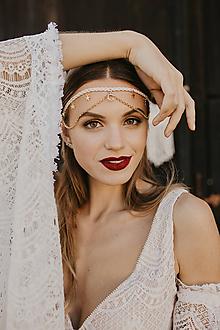 Ozdoby do vlasov - Bohemian wedding - pletená čelenka - 11473726_