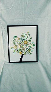 Obrázky - 3D obrázok z papierových prúžkov - rozkvitnutý strom - 11472216_