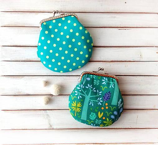 Peňaženka Zeleno-fialová so stromami - M