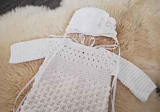 Detské oblečenie - Biele svetro-šaty na krst - 11472872_