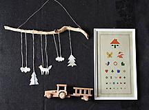 - keramická závesná dekorácia s motívom lesa do detskej izbičky - 11477523_