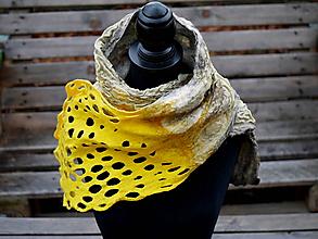 Šály - Žltý vlneno-hodvábny šál - 11475827_