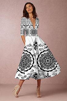 """Šaty - FLORAL FOLK """" Slovenská ornamentika """", spoločenské šaty v dĺžke midi (biela + čierny vzor - dress code) - 11478739_"""