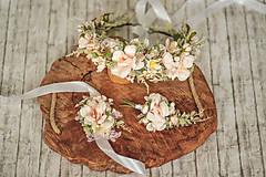 Ozdoby do vlasov - Romantický ružový kvetinový venček - 11478537_