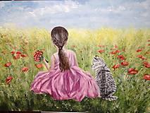 Obrazy - Dievčatko s tigrovanou mačičkou - 11478047_