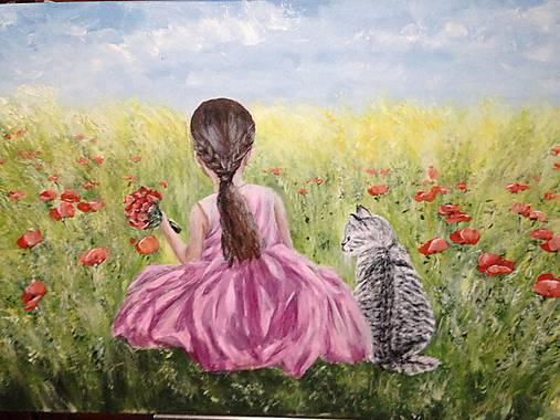 Dievčatko s tigrovanou mačičkou