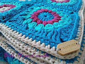"""Úžitkový textil - Háčkovaná deka """"granny square""""azúrovo modrá - 11476417_"""