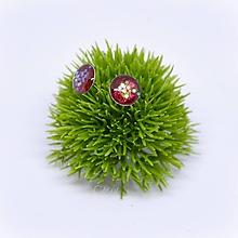 Náušnice - Karmínovo červené vianočné - napichovacie náušnice - 11478193_