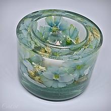 Svietidlá a sviečky - Svietnik na čajovú sviečku - kvetinový zo živice a skla - 11478715_
