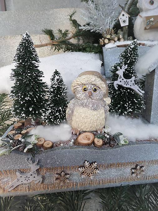 Zimná horská dekorácia so sovičkou