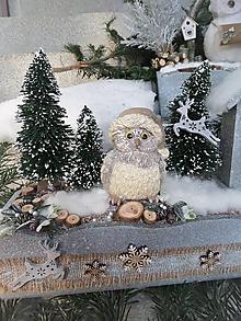Dekorácie - Zimná horská dekorácia so sovičkou - 11480280_