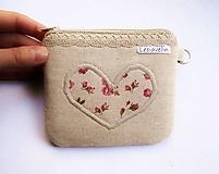 Peňaženka malá - Romantické srdce (priehradky + zadný zips)