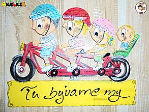 Tabuľky - Menovka - rodinka na bicykli - 11481644_
