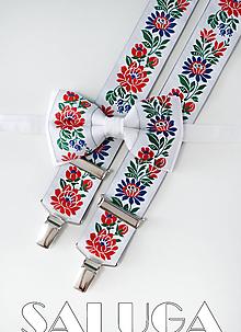 Doplnky - Folklórny pánsky biely motýlik a traky - folkový - ľudový - 11481104_