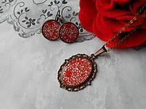 Sady šperkov - Červené kvietky - 11481293_