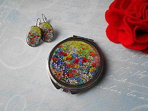 Zrkadielka - Maľovaná lúka (zrkadielko + náušničky) - 11481363_