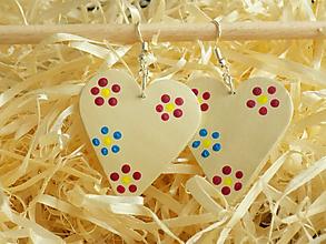 Náušnice - Béžové maľované folk náušnice - 11480087_
