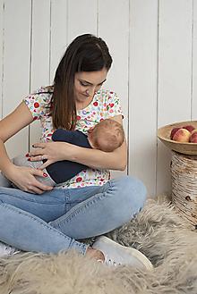 Tehotenské/Na dojčenie - Kvietkované tričko na dojčenie krátky rukáv - 11480209_